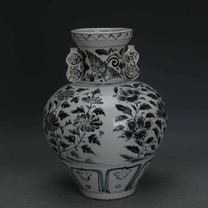 Primary image for Nice Chinese Ming Dynasty Hong Wu Blue White Porcelain Flowers Plants Vase