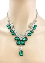 Forest Green Crystals Evening Dainty Floret Necklace Earrings Set Wedding - $26.96