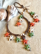Green Orange White Howlite Stone Starfish Dangle Necklace and Earrings Set - $19.00