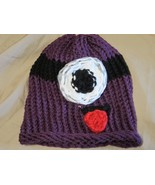 Handmade Knitted Kids 8-12 yrs Purple Monster Hat Cap - $11.88