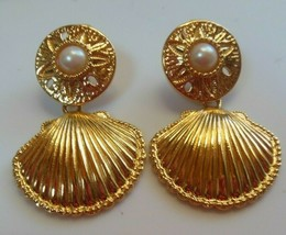 Vintage KJL for Avon Earrings Shell, Sand Dollar Faux Pearl   - $54.45