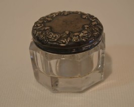 Antique Sterling Silver Repousse Lid Glass Trinket Ring Box Rouge Pot Po... - $49.49