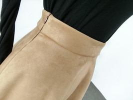 Women SUEDE Circle Skirt Autumn Winter SUEDE Midi Party Skirt, Camel Black Green image 6