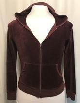 Juicy Couture Maroon Brown Velour Solid Zip Track Hooded Jacket L - $32.95