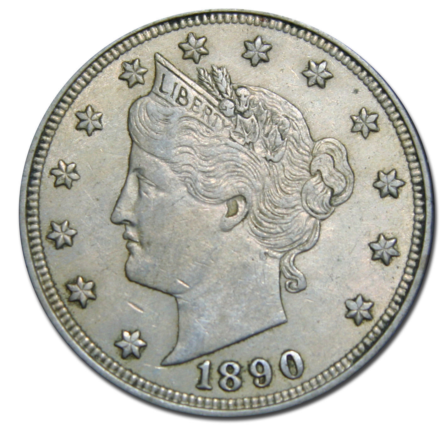1890 V Nickel Liberty Head 5¢ Coin Lot# MZ 2985