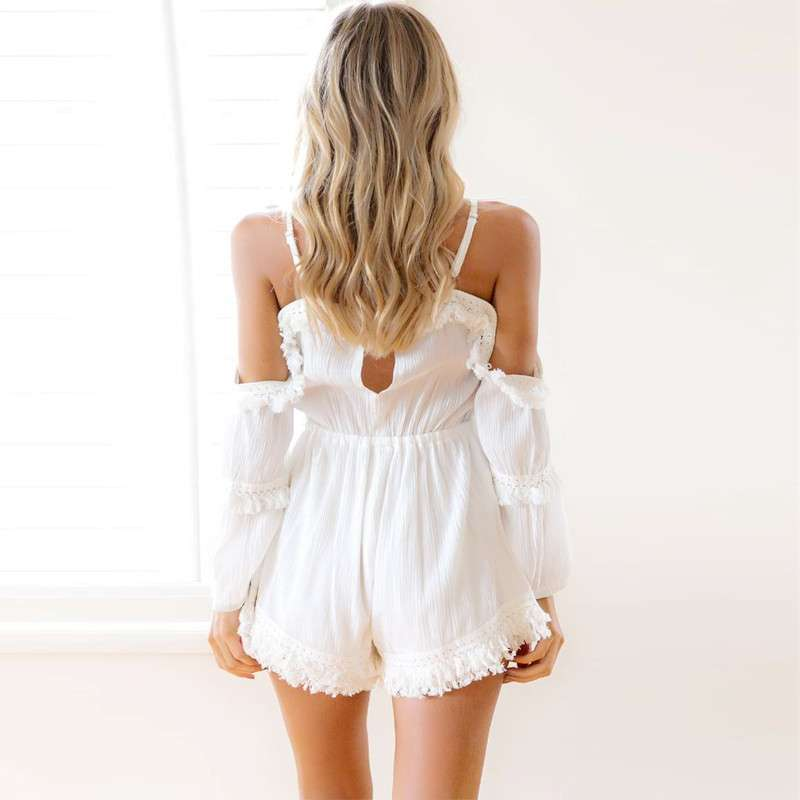Women Fringe Playsuit Solid Pattern Pure Color Casual Rompers Open Shoulder Suit