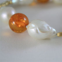 18K YELLOW GOLD BRACELET WITH STRAND OF PEARLS AND AMBER 7.87 IN MADE IN ITALY image 3