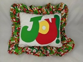"Christmas JOY Throw Pillow About 13"" x 11"" Homemade Stuffed - $9.70"