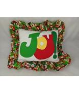 "Christmas JOY Throw Pillow About 13"" x 11"" Homemade Stuffed - $7.15"