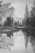 YOSEMITE PARK Mirror Lake - 1882 Engraving Antique Print - $21.60