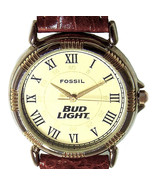 Bud Light Beer Logo Fossil Made, Unworn, Easy Read, Brown Leather Band W... - $78.06
