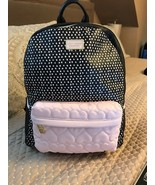 Betsey Johnson Backpack Pink Black DOTS Quilted Hearts School Travel Bag... - $89.09