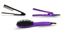 Neo 3 pcs Set - Ionic Heated Brush Straightener, Ceramic Flat Iron and Easy Hair - $105.73