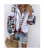 Plus Size Womens Floral Print V Neck Long Sleeve Tops Blouse Summer Boho... - $33.90