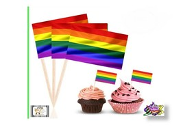 PRIDE LGBTQ Rainbow Flag Cake,Cupcake Toppers Picks /use on hot or cold... - $5.50+