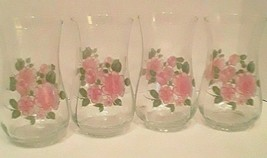 s/4 ROSELAND by GIBSON Flared Tumbler Glasses Pink Roses Design Hard to Find - $16.99