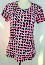 Ladies Dickies Scrub Top XS Extra Small Hot Pink Leopard EUC - $14.99