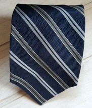 Men's Brooks Brothers Makers Striped Blue 100% Silk Neck  tie Made in Italy - $16.82