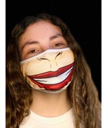 Washable Reusable Face Mask Red Lips Tan Funny Nose Extra Large Mouth Bi... - $6.98