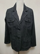 Denim & Co Womens MEDIUM Denim Jean Jacket Lapels front pockets 2 button... - $17.77