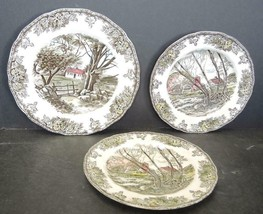 Johnson Bros Friendly Village Two Salad Plates & Luncheon Plate - $28.49