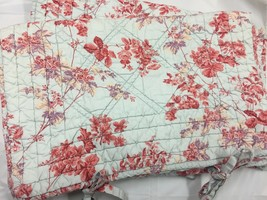 Pair POTTERY BARN PILLOW SHAMS Quilted French Country Lt.BLUE PINK FLORA... - $20.26