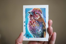 Bird small painting ACEO original watercolor 2,5x3,5 250 gsm 100% cotton - $5.00