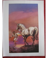 "vintage Boris Vallejo: The Flight of the Horse - 11.5"" x 8.5"" Book Plate... - $12.00"