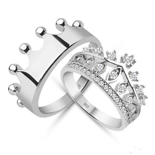 King And Queen Couple Ring Matching Set 14k White Gold 925