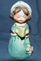 Vintage MWC 1980 Girl Figurine Caroler Book with Poodle Bell - $5.93