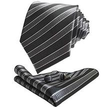 CANGRON Black Grey Stripes Tie Woven Men's Necktie Pocket Square Cufflinks Set L image 3