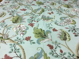 Schumacher J.H. Thorp Upholstery Fabric Fox Hollow Aqua Floral Print 5.2... - $249.38