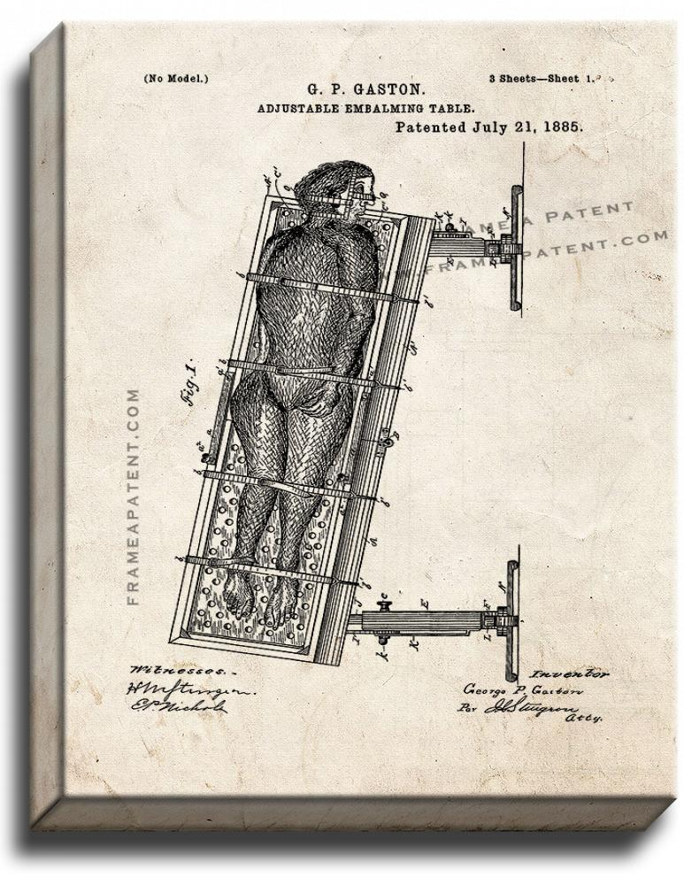 Primary image for Adjustable Embalming Table Patent Print Old Look on Canvas