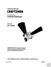Craftsman  Chipper Shredder  Manual Model # 247.775880 - $10.88