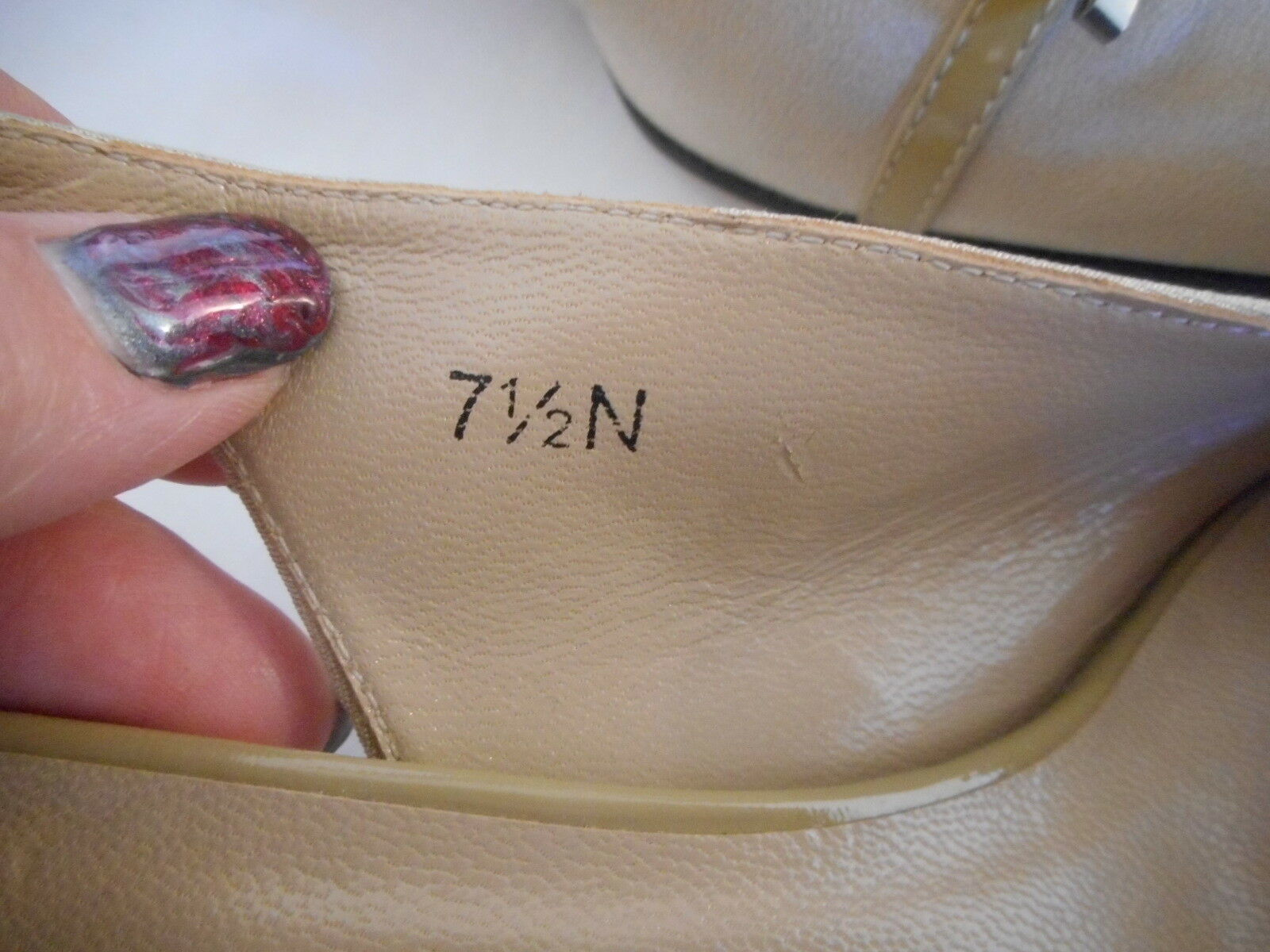 VANELi VAN ELi 7.5 N narrow Beige Womens 2 inch heel buckle sling back Shoes