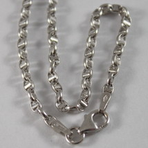 18K WHITE GOLD CHAIN NECKLACE SAILOR'S NAVY LINK 17.71 IN. MADE IN ITALY image 2