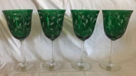Lenox Green Holly Holiday Water Goblet Clear Stem Set of 4 Brand New 8.2... - $54.44