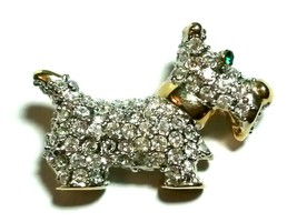 SCOTTY TERRIER SMALL RHINESTONE DOG LAPEL PIN BROOCH GOLD TONE COLLAR - $40.00