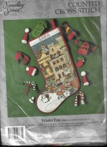Winter Fun Cross Stitch Christmas Stocking Kit Something Special 50663 Cats - $31.92