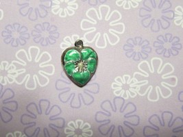 Vintage Sterling silver enameled puffy heart charm- GREEN  pansy - $29.00