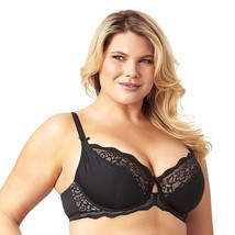 Olga Flirty Back Smoothing Shear Lace Bra 42C Black GI9711A Unlined Unde... - $29.69