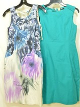 Elie Tahari dress SZ 2 LOT of 2  1 turquoise 1 floral sheath career chic lined image 1