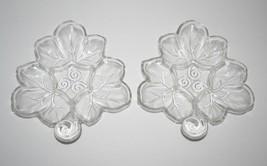 Vintage Set of 2 Hazel Atlas Glass Maple Leaf Dish, Clear Veggie Nut Can... - $8.59