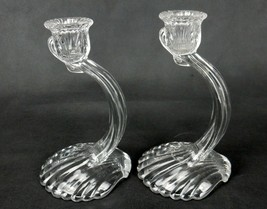 Pair of Cambridge Glass Candle Holders, Caprice 70, 1-Sconce w/Clam Shel... - $24.45