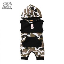 Newborn Baby Clothing Boys Kids Camouflage Romper Hooded Sleeveless Jump... - $10.69