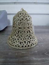 (1) Christmas House Gold Glittery Bell Decoration, Hanging. Plastic - $18.50