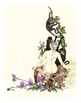 French Pinups: Nude Blonde in Pelt w/ Monkeys - DeTouche - 1900 - $12.95+