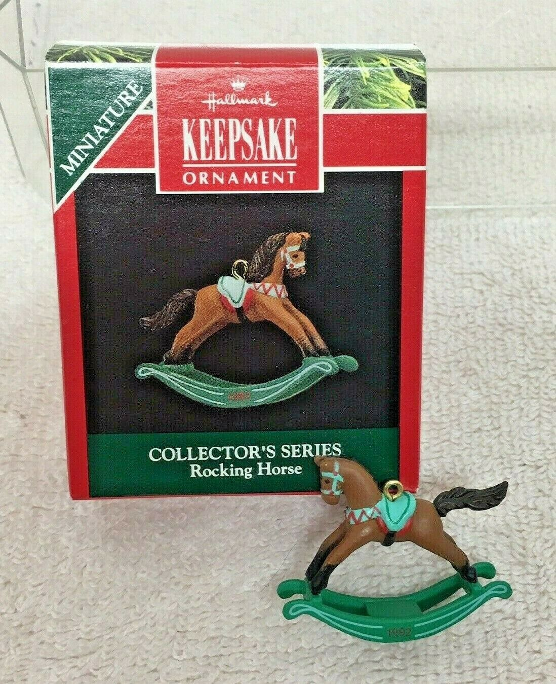 Primary image for 1992 Rocking Horse #5 Miniature Hallmark Christmas Tree Ornament MIB w Price Tag