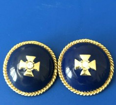 Vintage Ciner Clip On Earrings Gold Navy Blue Round Dome Enamel Rhinestone  - $249.99