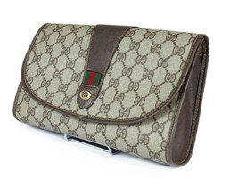 Authentic GUCCI GG Pattern PVC Canvas Leather Browns Clutch Bag GP2119 - $249.00